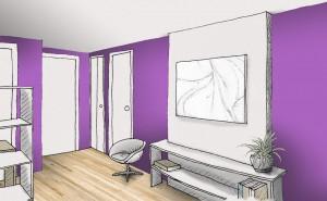 mur chaud violet